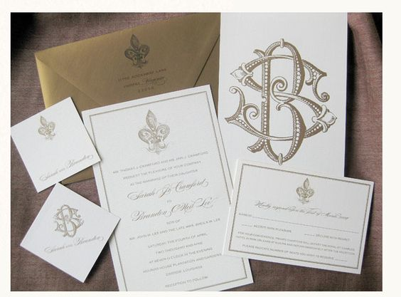 and last but certainly not least this fleur de lis gold invite is absolutely perfect for a new orleans wedding classic and historical these invitations - New Orleans Wedding Invitations